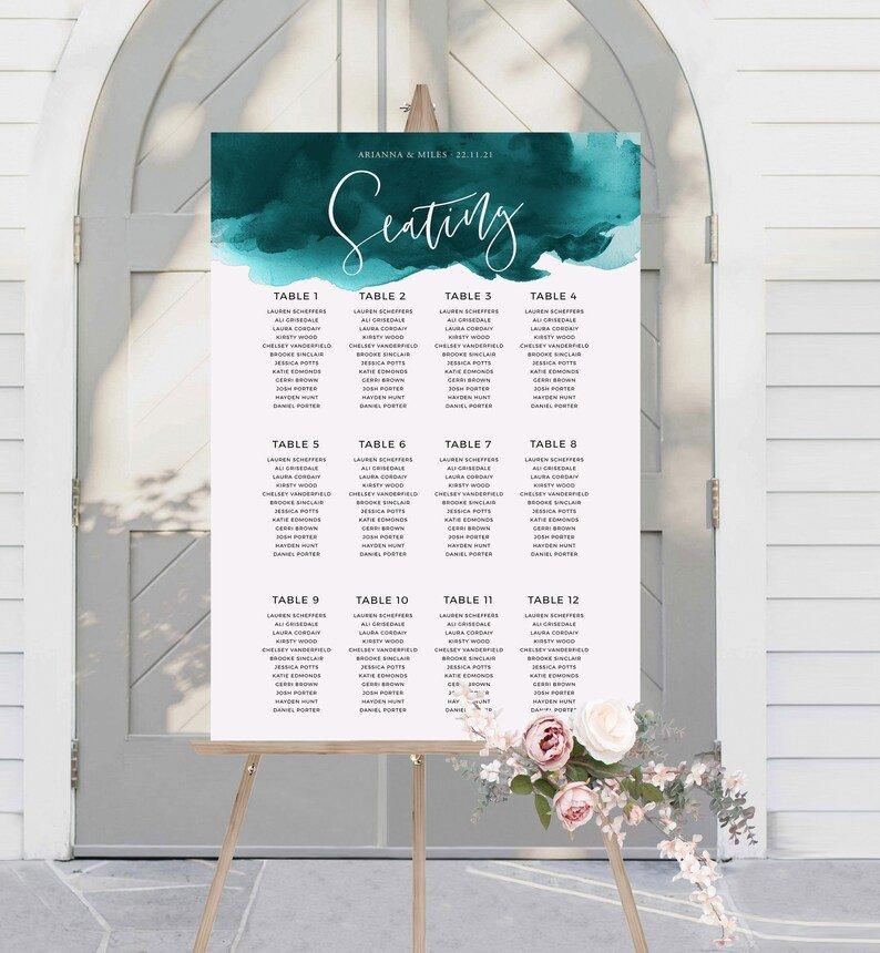 Teal Watercolor Wedding Seating Chart