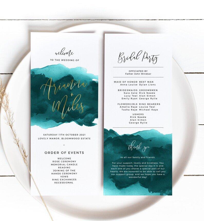 Teal Watercolor Wedding Program