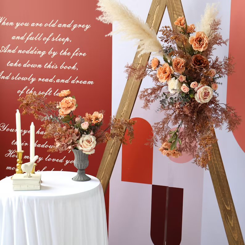 Wedding Flower Swag For Triangle Arch