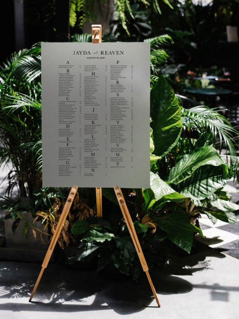 Alphabetical Order Wedding Seating Chart
