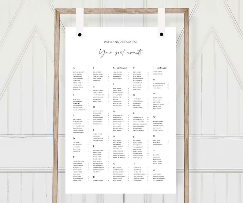 Alphabetical Order Wedding Seating Chart (Template Download)