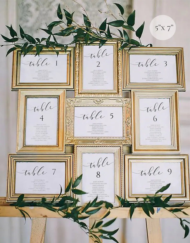 Calligraphy Wedding Seating Chart Cart (Template Download)