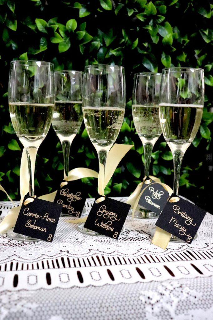 Champagne Flute Wedding Escort Cards
