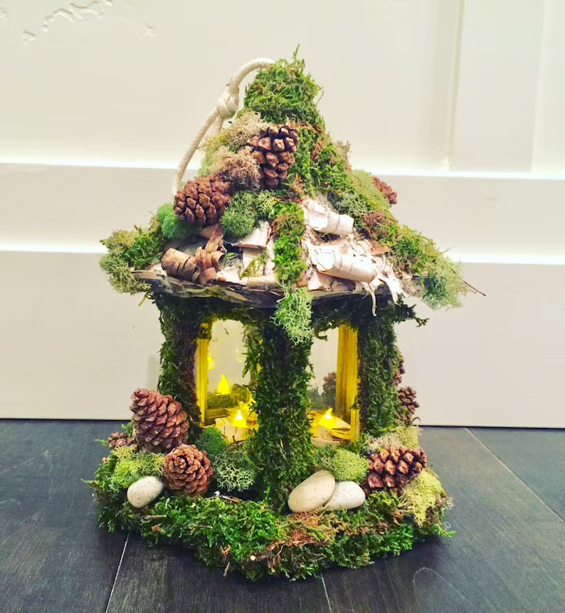 Enchanted Forest Fairy House Wedding Candle Centerpiece