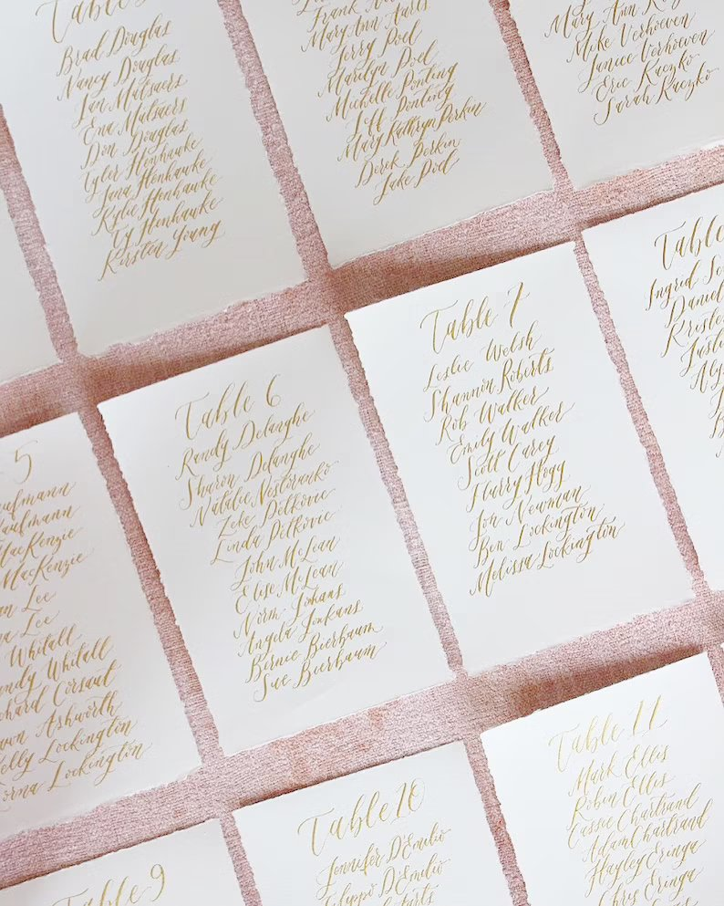 Handwritten Calligraphy Wedding Seating Table Cards