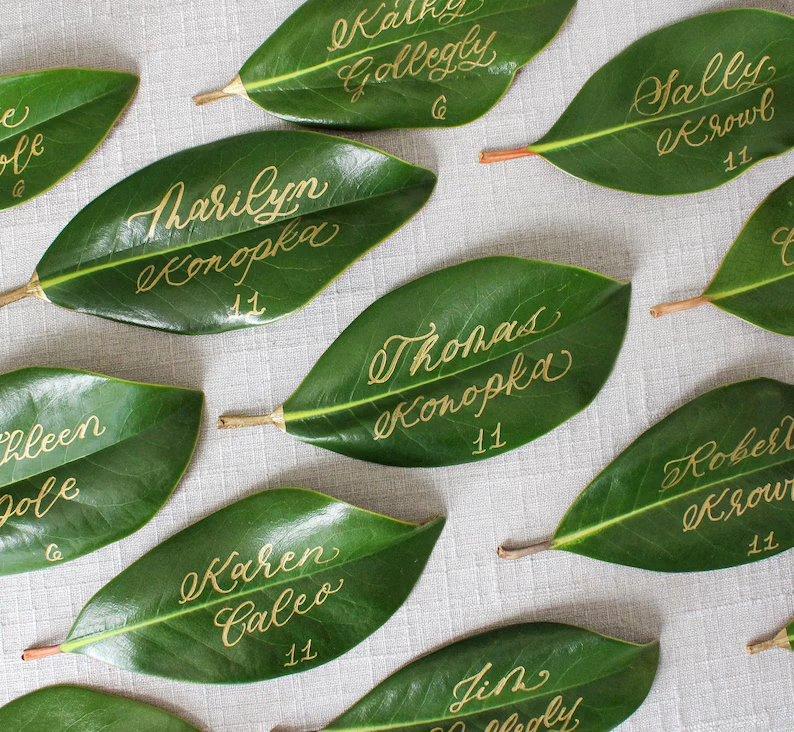 Magnolia Leaf Wedding Escort Cards