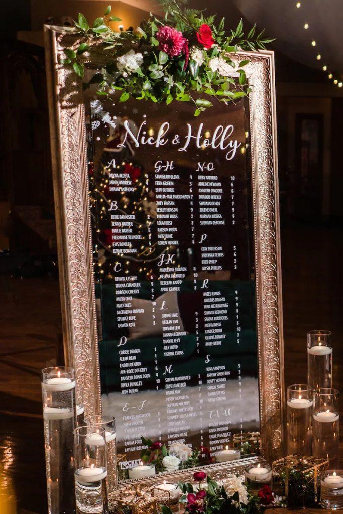Mirror Wedding Seating Chart Decal