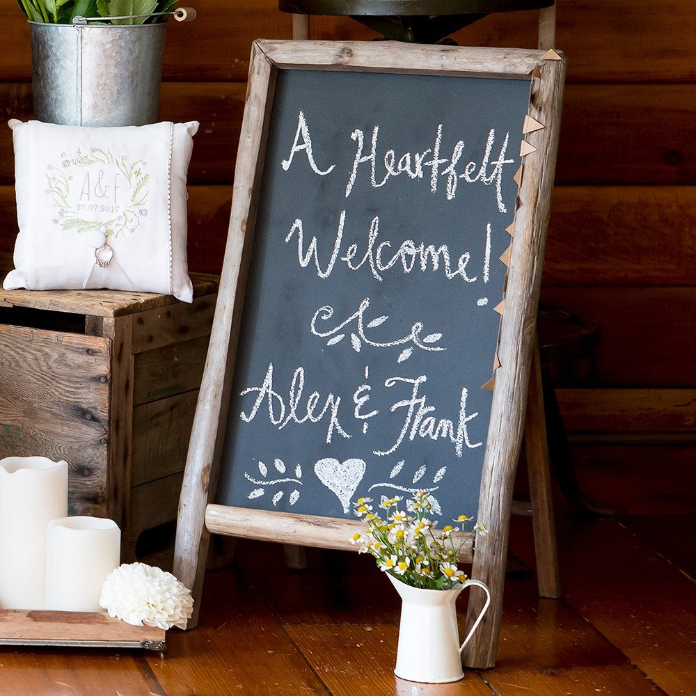 Self Standing Wood Frame Chalkboard Sign