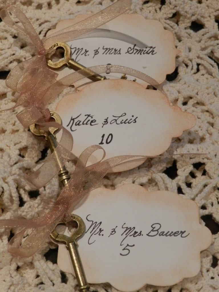 Skeleton Key Wedding Escort Cards