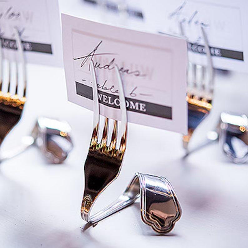 Twisted Fork Wedding Escort Cards