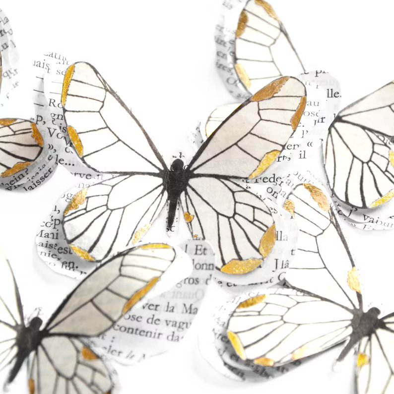 Vintage Paper Butterfly Wedding Decorations