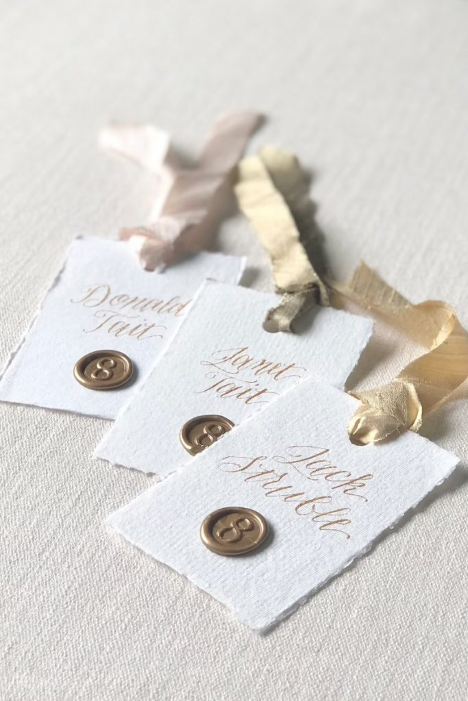 Wedding Escort Cards With Wax Seal Table Numbers