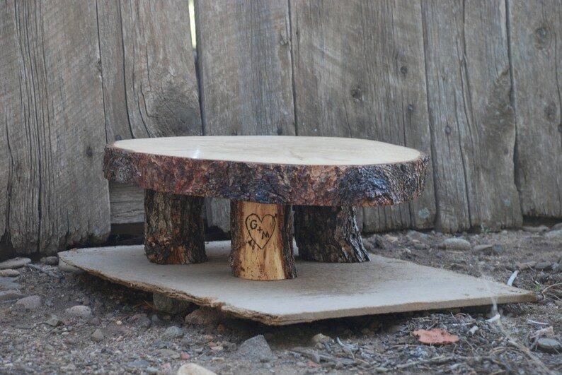 Wood Tree Slice Wedding Cake Stand