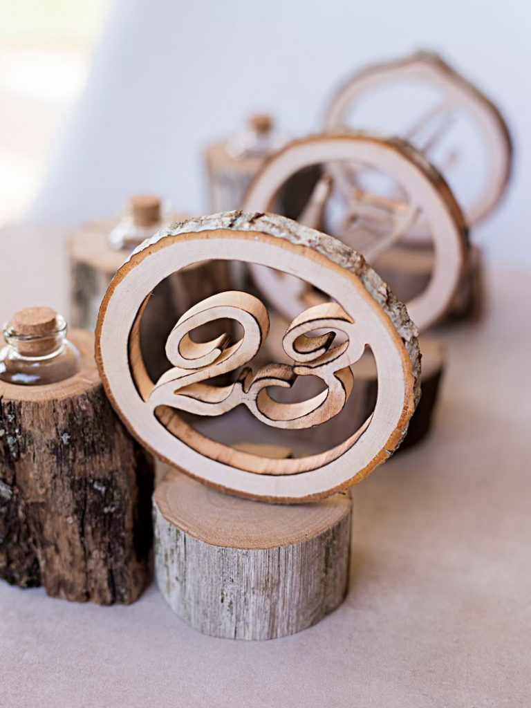 Wooden Wedding Table Numbers & Vases